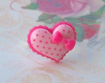 Pink Heart Ring, Kawaii Ring, Kawaii Jewelry, Heart Ring, Bow Ring
