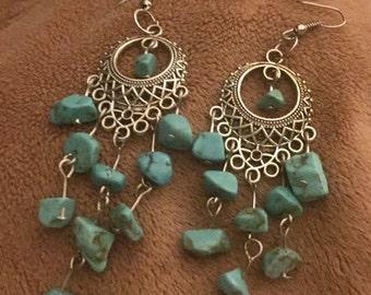 Turquoise blue howlite chandelier dangly silver earrings
