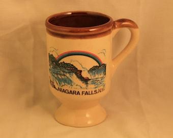 Niagara Falls NY Pedistal Mug Vintage Souvenir Coffee Mug Tea Cup Beige, Brown Interior Water Falls Rainbow Gift