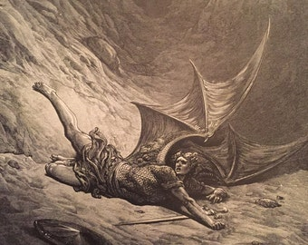 Antique Engraving by Gustave Dore for Paradise Lost