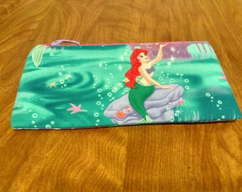 FREE shipping Ariel pencil case with pink zipper 100% Cotton