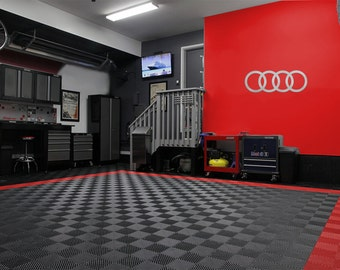 Audi Rings Logo Brushed Silver Garage Sign