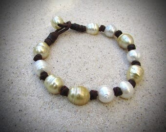 golden white south sea pearls bracelet leather