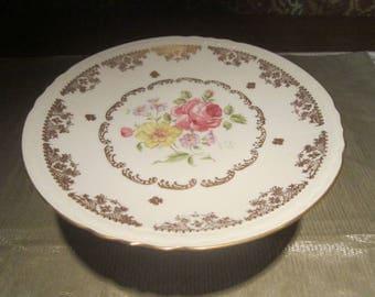 Porcelaine De France Cake Stand Vintage 1950's Floral Pattern Handpainted Serving Pedestal Plate Kitchen Dining Collectible - Kit0554