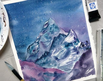 Watercolor landscape\Smoky mountains\watercolor  mountains\abstract landscape\colorful landscape\mountains painting\celestial watercolor