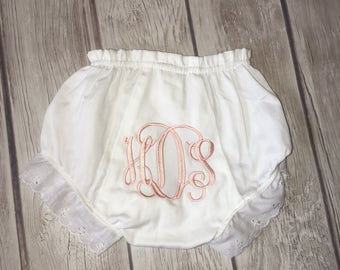 Name or initiaks! Adorable personalized monogrammed bloomers!! Ruffle lace diaper cover in white!