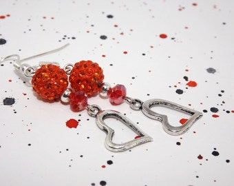 Heart charm earrings - Red heart earrings - Silver heart earrings - Heart dangle earrings - Red beaded earrings - Rhinestone bead earrings