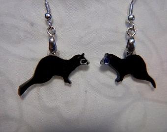 "ferret earrings, 100% recycled plastic,  ""shrinky dink"""