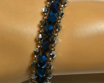 Iridescent Blue Beaded Bracelet with Silvery Accents