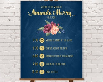 Wedding Timeline Sign / Wedding Itinerary Agenda, Icons / Peonies, Berries, Navy Chalkboard and Gold ▷ Printable File {or} Printed & Shipped