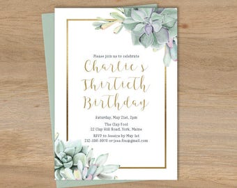 Succulent Birthday Invitation / Greenery and Gold Geometric / Green Cactus and Gold Calligraphy ▷ Printable File {or} Printed & Shipped