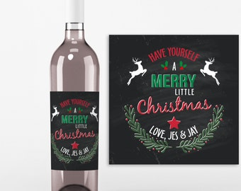 Christmas Wine Bottle Label - 4 Christmas Wine Labels - Have Yourself a Merry Little Christmas Charcoal Label, Christmas Gift - Secret Santa