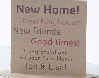 Personalised Congratulations on your New Home Card.  Rustic New Home Card, House Moving Card, House Warming Card