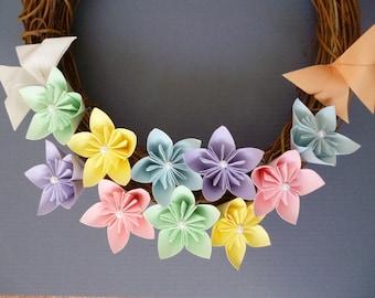 Spring wreath, origami flower wreath, kusudama pastel flowers, anniversary gift, wedding decor