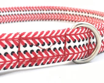 Red Baseball dog Collar - Baseball Mom Collar - Red Baseball dad dog Collar - Red Dog Collar - Red Baseball Life Collar - Dog Collar