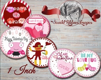 VALENTINE CRITTERS  Bottle Cap images -  15 - 1 in circles  - 600dpi, Collage Sheet, cupcake toppers, Gift Tags, BottleCaps