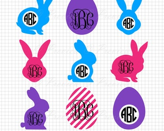 Buy 2 Get 1 Free! Digital Clipart Easter Bunny Monogram Frame, silhouette hare, rabbit, printable images png/eps/svg/dxf/studio cut files