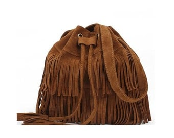 Boho Chic Messenger Bag Fringed Purse Vegan Leather Faux Suede
