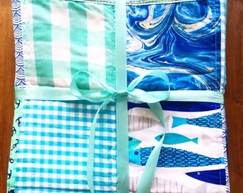 10% off and FREE SHIPPING! Seaside Fish and Water Baby Quilt