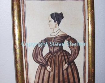 Watercolor portrait of a circa 1838 style Lady by Steve Shelton.