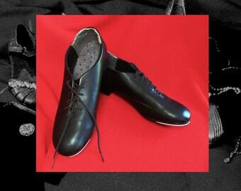 MENS TAP SHOES, black capezio tele tone taps, size 11 one half M tap shoes, vintage black mens tap shoes, 1960s vintage tap shoes
