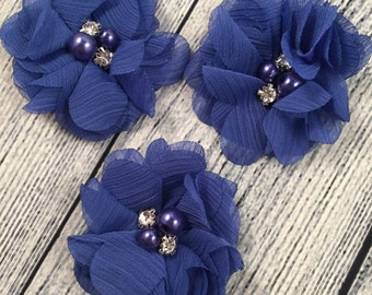 "Royal Blue Chiffon Flower with Pearls, 2"" Chiffon Flower, Pearls, Flower,  Headband Accessories, Craft Suppliers,"