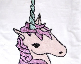 Unicorn Patch/Sequin Unicorn Applique/Pink Unicorn Horse/Sew on Horse/Pink Horse