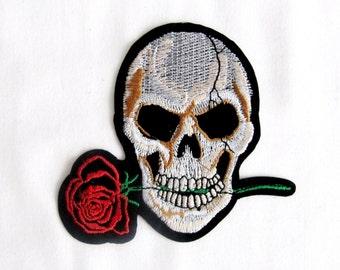 Sora Iron On Skull Patch,Skull with  Red Rose,Skull Patch,Skull Applique,Red Roses Skull Patches,Iron on Skull