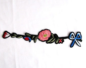 Iron on Bow Flower  Patch Branch Patches With Bow  Pink Flower Applique İron On Flower  Flower patch
