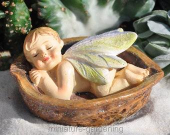 Fairy Baby in a Walnut for Miniature Garden, Fairy Garden