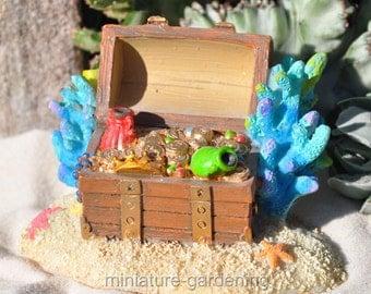 Mermaid Treasure Chest for Miniature Garden, Fairy Garden