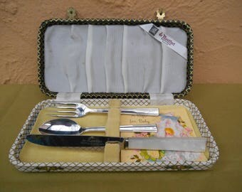 Christening Gifts, Vintage Christening Gifts, Boxed Baby Knife Fork and Spoon, Cutlery Set