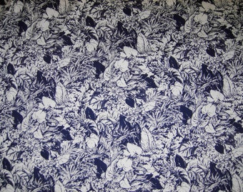 Cotton Blend Fabric, Navy Blue and White Floral, 3-5/8 Yards