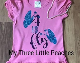 Ruffle butterfly birthday shirt