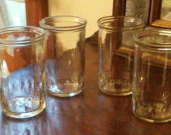 Super Retro Jelly Jar Juice Glasses Large set of 4 lower Diamond Rim