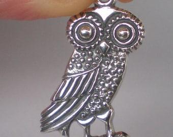 For Sale Owl Of Wisdom Silver Pendant - High Quality Item - Goddess Athena Symbol