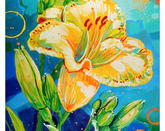 "Yellow Daylily - Original colorful traditional acrylic painting on paper 8.5""x11"""