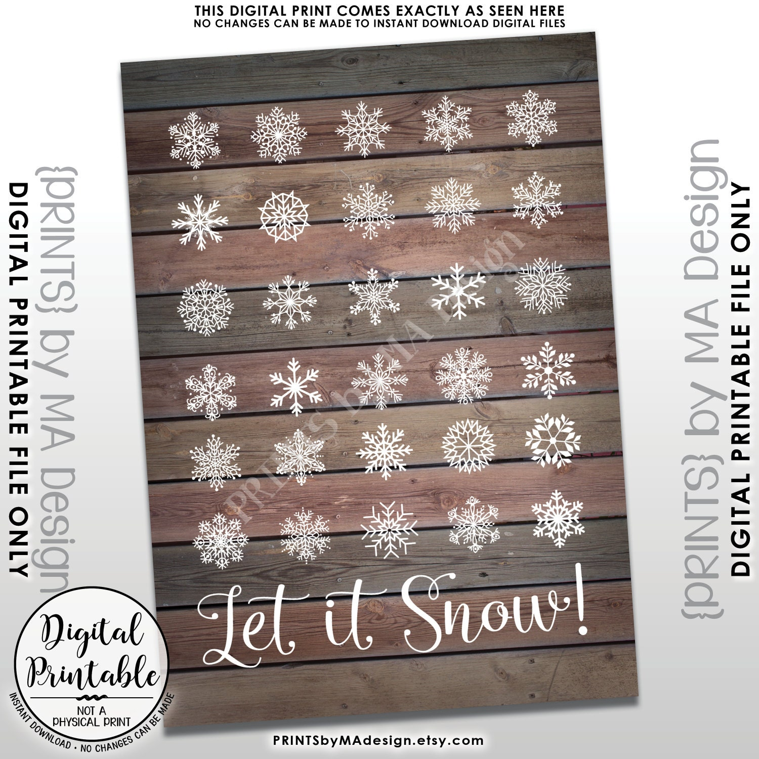 Snowing christmas decoration let it snow - Let It Snow Sign Winter Decor Christmas Decoration Snowing Snow Flurry Snowflakes Instant Download 5x7 Rustic Wood Style Printable