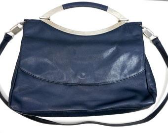 Vintage NOVABELL Bag, Genuine Leather, Handbag, Shoulder Bag, Navy Blue Bag