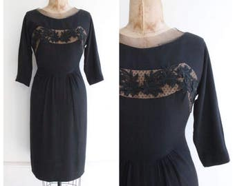 Vintage 1950's Black Floral Appliqué Dress wiggle dress mad men fifties pinup midcentury goodwood revival 50's fifties