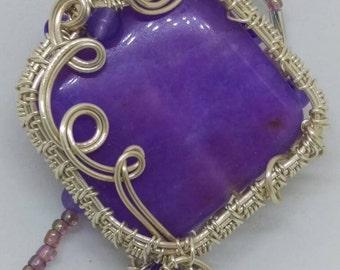Silver wire wrapped Purple pendant