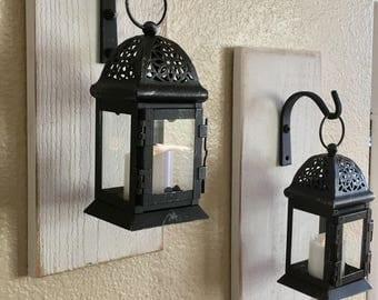Set of Hanging Lantern Sconces, Farmhouse Wall Decor, Lantern Sconces, Black, Lanterns, Wood Sconce with Lantern, Country Decor, Wall Decor