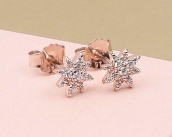 Rose Gold Celestial Star Earrings