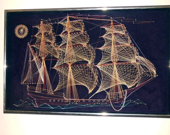 Intricate String and Wire Art Frigate Ship - 1970s