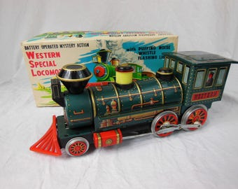 Tin Train, Western Special Locomotive, Battery Operated, Made In Japan