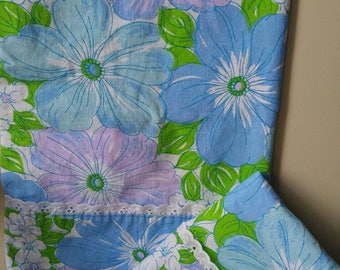 SOLD SOLD SOLD Pretty Wabasso pure cotton pillowcases / blue , purple , pink / quality linens