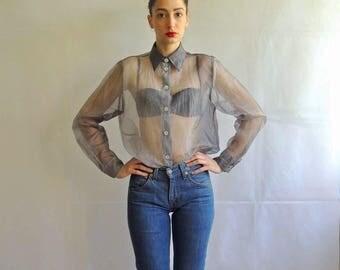Vintage Sheer Grey Button Up Shirt