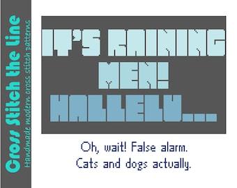 It's raining men! Funny typographic modern cross stitch sampler. Contemporary cross stitch pattern.