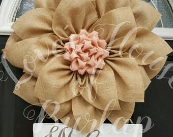 Burlap wreath, Burlap flower wreath, Flower wreath,  Spring wreath, Summer wreath, Rustic wreath, Welcome wreath, Front door wreath, Burlap