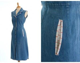 Vintage 1970s denim cotton dress - size S
